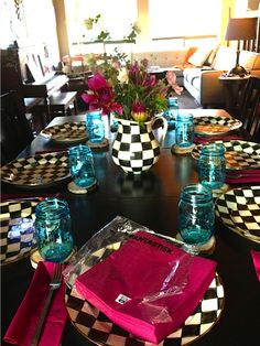 Setting a table MacKenzie-Childs Courtly Check Plates | www.reluctantentertainer.com
