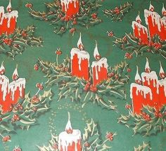 VTG CHRISTMAS WRAPPING PAPER GIFT WRAP MID CENTURY GORGEOUS GREEN / RED CANDLES (11/22/2013)