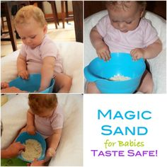 This magic sand for babies is completely edible and makes for a wonderful sensory experience! Baby Sensory Play, Sensory Activities, Infant Activities, Activities For Kids, Learning Activities, Diy Sensory Toys For Babies, Holiday Activities, Preschool Ideas, Edible Sand