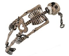Diamond skeleton bracelet by Lydia Courteille