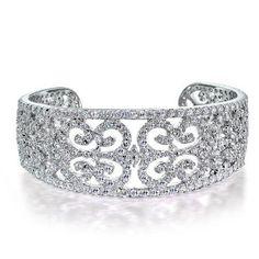 Bling Jewelry Art Deco Style CZ Bridal Cuff Bangle Bracelet 8 Inch