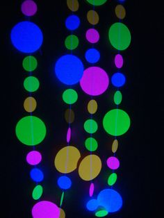 Black light party neon garlands by BethsCardCreations on Etsy, $3.50