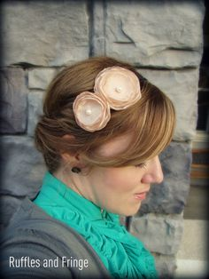 Double Flower Headband in Champagne by RufflesAndFringe,