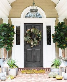 Creating a Fall Front Door Using Succulents - Pottery Barn Front Door Design, Front Door Decor, Front Doors, Front Entry, Pottery Barn, Colonial Front Door, Small Porch Decorating, Decorating Ideas, Decor Ideas