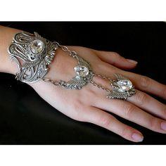 Gothic Silver Wings Slave Bracelet - Swarovski Silver Bracelet -... ($174) ❤ liked on Polyvore featuring jewelry, bracelets, swarovski crystal jewelry, silver jewelry, silver bangles, gothic jewellery and chains jewelry
