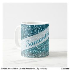 Stylish Blue Ombre Glitter Name Personalized Coffee Mug Personalized Coffee Mugs, Unique Coffee Mugs, Sparkly Background, Glam And Glitter, Blue Ombre, Art Pieces, Kids Shop, Stylish, Tableware