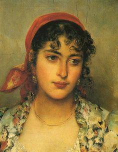 Eugene de Blaas - The gypsy girl Classic Paintings, Old Paintings, Beautiful Paintings, Portraits, Portrait Art, Pretty Art, Cute Art, Rennaissance Art, Baroque Art