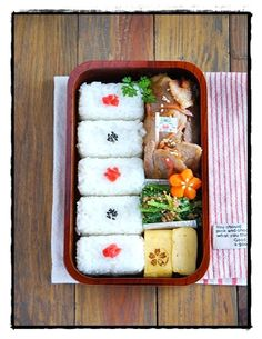 Ginger pork, shirasu-sesame spinach, omelette, rice and carrot.