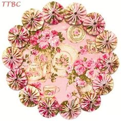 11 in. Chic n Shabby Roses Pink Rose Garden Tea Fabric YoYo Candle Mat Teacup Placemat Doily $12.99