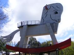 Giant rocking horse outside the toy factory Australia Beach, South Australia, Australia Travel, Red And Yellow Flag, Drink Plenty Of Water, Wildlife Park, Tourist Trap, Steel Structure, Sculptures