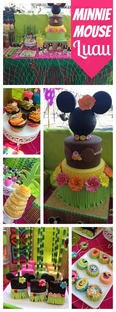Mickey Mouse Luau Party Ideas -Lailah first birthday ideas Minnie Mouse Theme Party, Mickey Mouse Parties, Mickey Party, Luau Birthday, Baby Girl Birthday, Birthday Ideas, Birthday Parties, Tiki Party, Luau Party