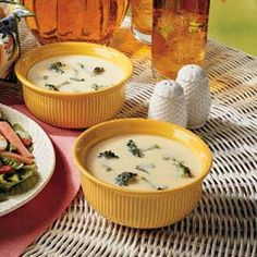 Brocolli Cheddar Soup! I just made this, and it's amazing. Instead of real onions, I used onion powder, and I added a bit of nutmeg and two bay leaves, and it turned out great!! Even my niece who hates brocolli liked this!