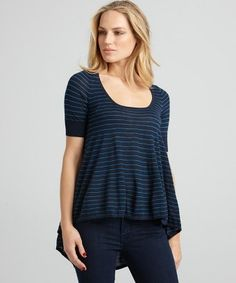 Navy pencil stripe modal fishtail sweater (Autumn Cashmere). The loose fit, high/low wasitline and the nautice pinstripes keep concealment at it's best. Conceal behind the hip with an IWB.