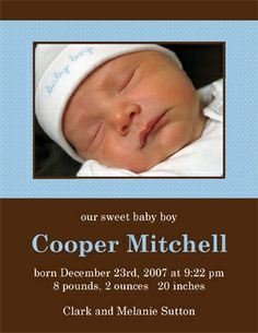 Bella Baby - Sweet Dreams Birth Announcement, $0.99 (http://www.bellababy.com/sweet-dreams-birth-announcement/)