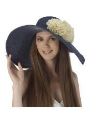 Luxury Lane Womens Navy Floppy Sun Hat with White Flower Appliques