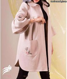 مانتو دخترانه زمستانی کوتاه گلدوزی شده Abaya Fashion, Suit Fashion, Fashion Dresses, Dress Shirts For Women, Blouses For Women, Iranian Women Fashion, Mode Chic, Pakistani Dress Design, Fashion Design Sketches
