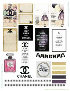 Free Printable Coco Chanel Planner Stickers from Victoria Thatcher