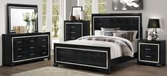 62 Trendy Ideas For Bedroom Black Headboard Spaces Dark Bedroom Walls, Black Bedroom Furniture, Bedroom Black, Bedroom Sets, Bedrooms, Black Headboard, Tall Headboard, Bling Bedroom, Black Comforter