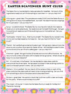 These Easter Scavenger Hunt Ideas are part of a free printable game that will have your children racing around the house and taking Easter Bunny exercise breaks along the way. A fun and unique way to plan an Easter egg hunt for your kids. Easter Scavenger Hunt, Scavenger Hunt Clues, Scavenger Hunts, Easter Games, Easter Activities, Easter 2018, Easter Party, Hoppy Easter, Easter Eggs