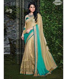 Golden & Green Colour Net,Satin Georgette & Lycra Ebroidered Saree