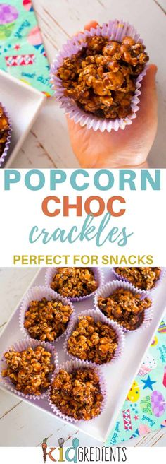 Popcorn choc crackles, a healthier recipe for the party favourite!  Yummy, dairy free, gluten free and the perfect snack.  Great in the lunchbox. #kidsfood #healthykidsfood #recipe #partyfood #glutenfree #dairyfree via @kidgredients