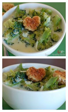 Brainy Broccoli Soup Recipe - If broccoli can make a kid smarter, we're eating this every night! http://www.superhealthykids.com/brainy-broccoli-soup/