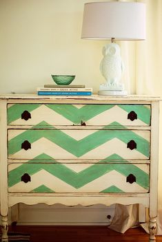 Idea for bedside table-  painted chevron dresser - looking for a way to spruce up Kade's old hand-me-down dresser. Perhaps this is it!