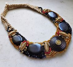 OOAK necklace with vintage buttons necklace with by AzzurroTerra