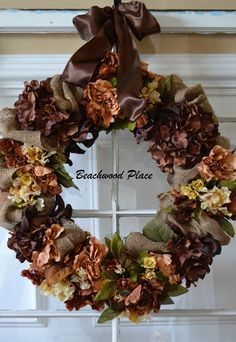 wire frame wreath with brown hydrangeas and burlap | ... brown silk wired ribbon and hung it with a simple wreath holder