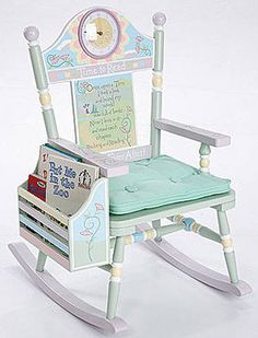 Levels of Discovery Girls' Time To Read Rocker - The Levels of Discovery Girls' Time To Read wooden Rocker is a kid-sized rocking chair hand-painted in subtle pastel colors. It has a book rack and the backrest says has a working clock, and inspiring poem. Toddler Rocking Chair, Rocking Chair Plans, Childrens Rocking Chairs, Nursery Furniture, Kids Furniture, Painted Furniture, Furniture Logo, Retro Furniture, Redoing Furniture