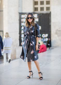 Paris Fashion Week[[MORE]] Aimee Song wearing a Dior bag and Rochas dress during Paris Fashion Week Source