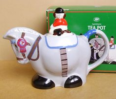 Wade Gymkhana teapot, in shape of horse or pony with rider on its back as knob, head as spout and tail as handle, ceramic