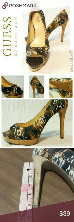 """GUESS by Marciano Cork Heels Size 8.5. In great pre-owned condition with no stains. Very light wear on bottom. Heel height is 5"""". Guess by Marciano Shoes Heels"""