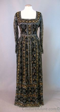 Vintage 60s MALCOLM STARR Glitter on Black Silk Evening Gown Dress Large bust 40 at Couture Allure Vintage Clothing