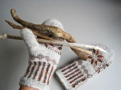 Knit Gloves hand knitted brown earthy color by woolpleasure, $35.00