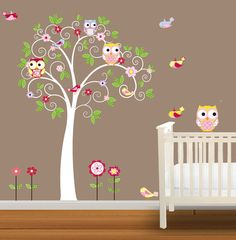 Childrens Owl Wall Decal Nursery Vinyl Wall by NurseryDecals, $94.99