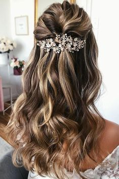 42 Half Up Half Down Wedding Hairstyles Ideas ❤️ half up half down wedding hairstyles ideas simple and elegant with silver hair pin on long blonde hair caraclyne.bridal hair long 45 Perfect Half Up Half Down Wedding Hairstyles Wedding Hairstyles For Long Hair, Loose Hairstyles, Prom Hairstyles, Hairstyle Ideas, Elegant Hairstyles, Simple Bride Hairstyles, Hair Ideas, Scene Hairstyles, Female Hairstyles