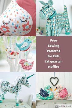 Kids free soft toy patterns Fat Quarter Projects, Sewing Patterns For Kids, Bag Patterns To Sew, Sewing For Kids, Animal Sewing Patterns, Sew Pattern, Doll Patterns, Free Sewing, Sewing Toys