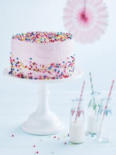 With a pale pink icing and fluffy vanilla body, this cake is a gorgeous addition to any celebration.
