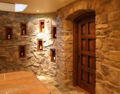 entrance to wine cellar - wine bar - home interior