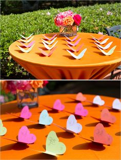 colorful butterfly escort cards - so fun! Butterfly Garden Party, Butterfly Wedding, Paper Flower Backdrop, Paper Flowers, Seating Cards, Orange Wedding, Bling Wedding, Wedding Blog, Place Cards