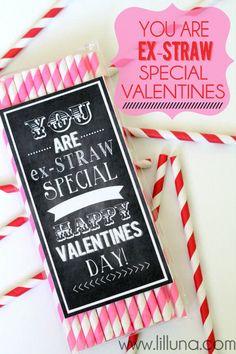 Puns and Susty Straws! You are Ex-STRAW Special Valentines. Free prints on { lilluna.com } #valentines