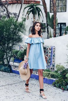 $60 Off-The-Shoulder Light Blue Faux Denim Ruffled Detail Mini Dress Summer Spring Beach Fashion Trends Black And White Pom Pom Detail Sandals Tumblr