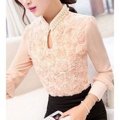 YEYELANA Women Chiffon blouse Sexy Flower Beaded lace Tops long sleeved Casual shirt Patchwork hollow out Women clothing Chemises Sexy, Blouse Sexy, Mode Vintage, Shirt Blouses, Lace Blouses, Lace Tops, Look Cool, Blouse Designs, Blouses For Women