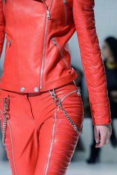 vogue-uk: versace f/w 2013 Punk Fashion, Leather Fashion, Womens Fashion, Red Leather, Leather Gifts, High Fashion, Fashion Details, Fashion Design, Fashion Trends