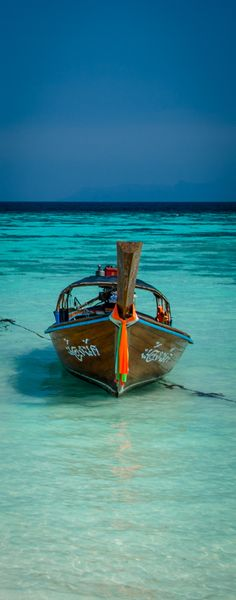 Long tail boat in Koh Lipe Thailand common mode of transport to explore the Koh's