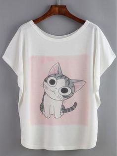 Белая футболка с принтом Cat.рукав летучая мышь