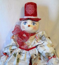 Red Silver Snow Lady Art Doll Snowflake by MorningMistDesigns