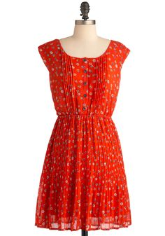Picnic Pleats Dress - Mid-length, Orange, Multi, Floral, Buttons, Pleats, Casual, Cap Sleeves, Multi, Spring