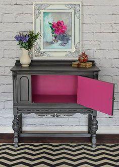Gray and Pink Furniture Makeover (Favorite Paint Colors) Pink Furniture, Refurbished Furniture, Repurposed Furniture, Furniture Making, Furniture Makeover, Home Furniture, Furniture Design, Furniture Ideas, Bedroom Furniture